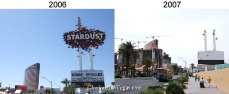 The Stardust Hotel and its sign, now battered, with The Wynn and Encore at Wynn in the background