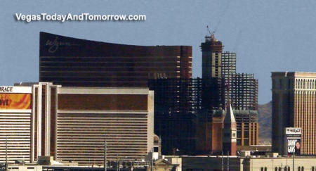 the Wynn and Palazzo hotels in Las Vegas, towering over the Vegas Mirage Hotel