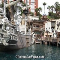 Treasure Island casino in Las Vegas showing TI pirate ship
