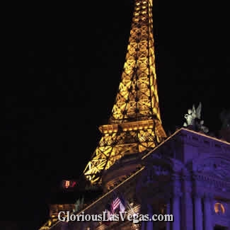 Paris Hotel in Las Vegas, Nevada, showing the Vegas Eiffel Tower at night