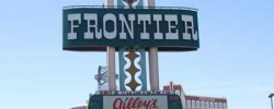 The New Frontier Hotel in Las Vegas, showing Gilleys sign
