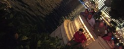 A man diving into the Bellagio lake to rescue a man who fell in